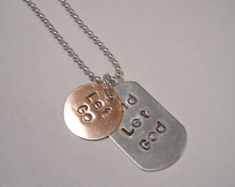 Stamped Metal Jewelry, Hand Stamped, Metal Necklace, Love, Copper