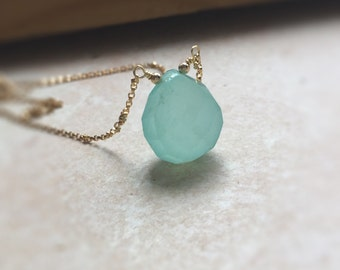 Crystal Necklace Large Aqua Peruvian Chalcedony Pendant Necklace  Gift for Women Best Friend Gift Briolette Necklace
