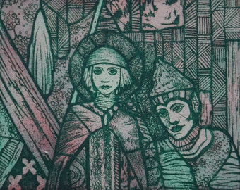 Stained glass inspired etching in green and pink , patterned print