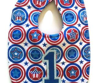 Patriotic bibs - 1st birthday bib - USA baby - birthday bib - superhero birthday bib - Stars and Stripes bib - red white and blue baby bib