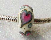Whimsical Valentine- Big Hole Lampwork Bead - Silver Core - European Style Charm Bead