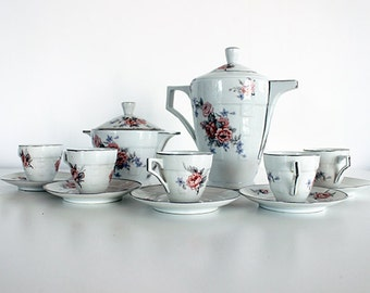 Art Deco French Antique Limoges Coffee Set or Service, WÎNTER SALE