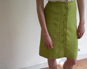 Green square pattern mini skirt high waist small