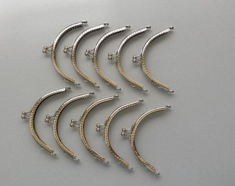 "FREE U.S SHIPPING  4"" x 1 1/2"" (10 cm) Half-round Nickel Coin Purse Frames, Sew-In Purse Frames, Silver Purse Frame - 10 pcs Set"