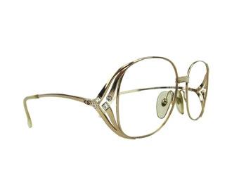 CHRISTIAN DIOR Vintage Eyeglasses Frame Mod.2537 Golden with White Crystal