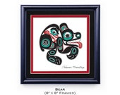 Tlingit Northwest Native American Bear 8x8 Framed Giclée Print