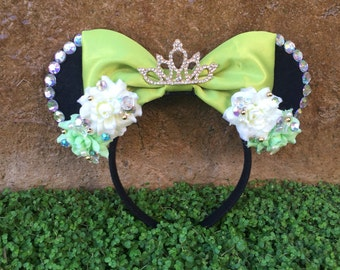Pre-Order Princess Tiana inspired Mouse Ears Flower Crown Headband Princess and the Frog