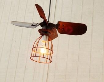 Shabby Rust Pendant Fan Blade Light - Industrial Hanging Light