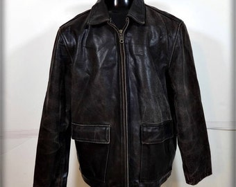 M. JULIAN Heavy Leather JACKET Mens Size L large Solid brown insulated