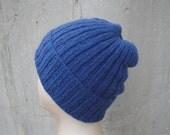Knit Cashmere Hat, Medium Blue, Beanie Watch Cap, Luxury, Gift for Him Her