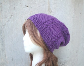 Purple Slouch Hat with Cables, Slouchy Beanie Hat, Hand Knit, 100% Wool, Women & Teen Girls Fashion