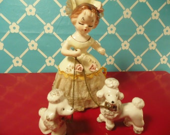 Girl Poodles Figurine Ceramic Made In Japan Mid Century Decor Vintage 1950s