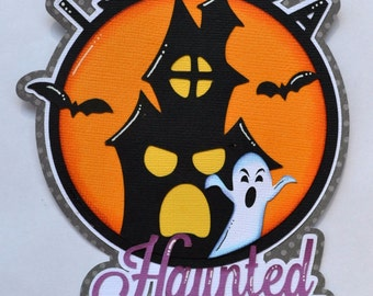 CraftECafe Haunted House Title Paper Piecings Halloween Premade Scrapbook Page