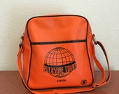 RESERVED R.L.             Pleasure Tours Suitcase Bag, Vintage Carry On Bag, Orange Suitcase