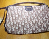 Vintage Authentic Christian Dior Logo Canvas and Leather Bag