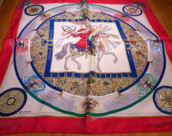 Vintage Authentic Hermes Small  Feux D'artifice Scarf