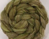 Natural Hand dyed bfl / silk top for spinning  - Himalayan Rhubarb - (4.3 oz.) Mixed Bluefaced Leicester/tussah silk (75/25)