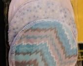 6 reusable flannel washable cotton nursing pads for bra A B C D DD nursing pads blue grey electric cheveron