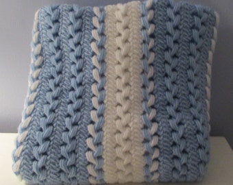 Blue and White Hairpin Lace Blanket