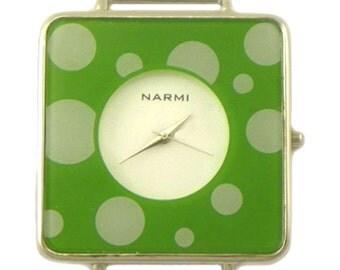 Sale!!! ~ Narmi Polka Dot Lime Green Solid Bar Ribbon Watch Face 44 x 44 mm