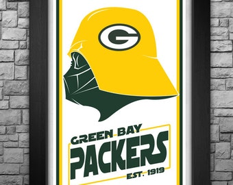 """DARTH VADER """"Green Bay Packers"""" inspired limited edition 11x17"""" art print"""