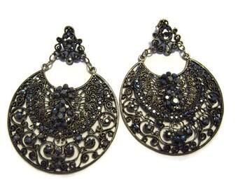 Vintage Bronze Filigree Gypsy Earrings