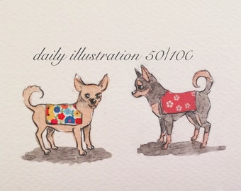 "Daily Illustration # 50/100 ""Two Chihuahuas"" Original Hand Drawn Art"