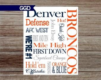 INSTANT UPLOAD-Denver Broncos Subway Art, Denver Broncos Print, Denver Broncos Wall Art-Print Your Own