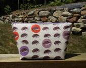 Large Makeup Bag,Hedgehogs, Organic Cotton Makeup Bag, Organic Collection, One of a Kind