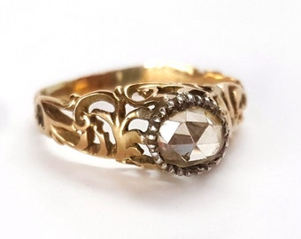 Spectacular French Victorian .60 Carat 14K Rose Cut Diamond Ring