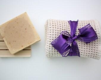 Organic Natural Waffle Wash Cloth & Artisan Soap Gift Set