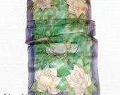 Handpainted Silk Scarf Magnolia#7