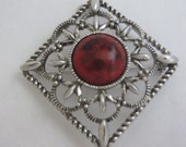 SARAH COVENTRY Signed Red Stone Pendant/Brooch