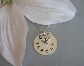 Family Tree Necklace, Gifts for Moms, Hand Stamped Necklace, Sterling Silver Heart Necklace, Mother of the Bride Gift, Mother in Law Gift
