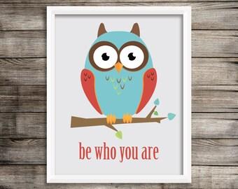Modern Owl kids wall Art.  Owl 8X10 Art print.  Home decor ~ Digital Download