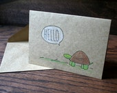 Turtle Greeting // Hand Drawn Card // Hello