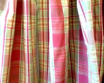 "DRAPES ... 2 Pair 4 Panels Vintage Silk Drapes Pink & Green Plaid 2 Panels 42"" Long 2 Panels 80"" L or for Fabric"
