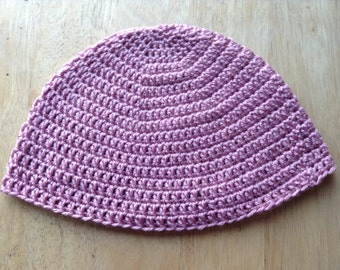 Silky Crocheted Mauve Beanie (READY TO SHIP!)