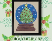 Tree Snowglobe Cross Stitch Pattern - Instant Download PDF - Modern Cross Stitch Design