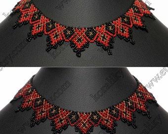 Traditional Ukrainian Folk Handmade Jewelry Glass Beads Beaded Necklace Gerdan. Black /Red /Gold