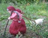 Kallinchen bring the goat to the pasture, small farmer, goatherd, felt doll, felt goat