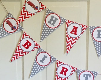 RED FIRETRUCK Happy Birthday Party or Baby Shower Banner Red Black Yellow - Party Packs Available
