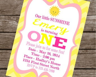 You Are My SUNSHINE Happy Birthday Party or Baby Shower Invitations Set of 12 {1 Dozen} - Party Packs Available