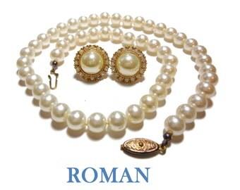Bridal pearl necklace earrings set, Roman jewelry faux pearl necklace, pearl cabochon earrings, rhinestone border, gold plate, original box