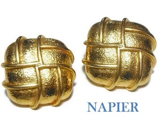 Napier gold earrings, Mod earrings, 1980s gold plated square shadowbox style earrings great texture, post earrings