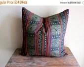 "ON SALE Vintage Hmong Boho Batik Pillow Cover 18"" x 18"" Handmade Batik Cotton  Ethnic Tribal Cushion Case"