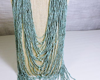 Turquoise Glass Beaded Necklace Extra Long Multistrand