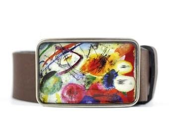 Kandinsky Belt Buckle, Abstract Belt Buckle, Fine Art Belt Buckle, resin belt buckle
