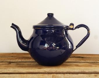 Vintage French Enamel Tea Pot in Lovely Royal Blue....Cute.