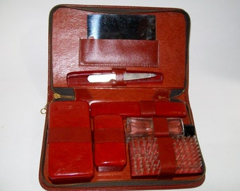 Vintage Men's Travel Grooming Kit Leather Zippered Case